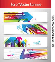 web, abstract, set, headers., kleurrijke