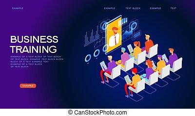 web, addestramento, bandiera, affari