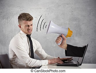 Web advertising and spam concept with businessman and ...
