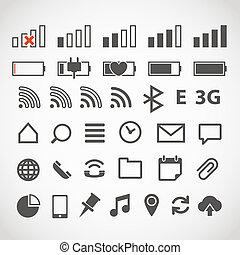 web, aggeggio, moderno, collezione, icone
