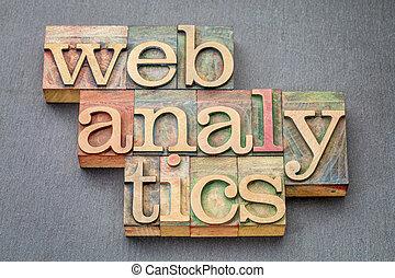 web analytics banner in wood type