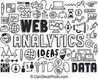 Web analytics doodle elements - Hand drawn vector...