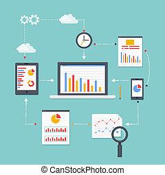 web analytics - Flat vector scheme of web analytics...