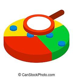 Web analytics icon, isometric style