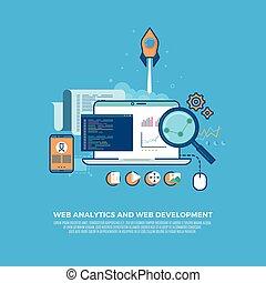 Web analytics information and website development flat concept background