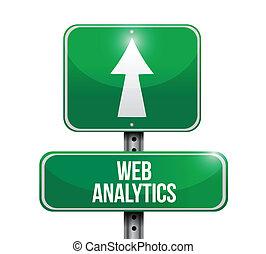 web analytics road sign illustration design