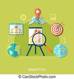 Web Analytics Symbols Composition