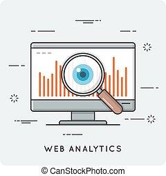Web analytics. Thin line concept.