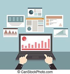 Web and application optimization, programming, design and analytics, vector EPS10, flat design