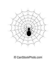 Web and black poisonous spider. Isolated on white vector...