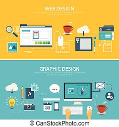 web and graphic banner flat design