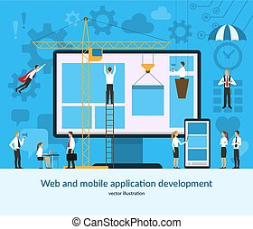 Web and mobile application development concept. Vector illustration in flat style.