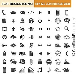 Web and mobile flat design icons, elements, buttons