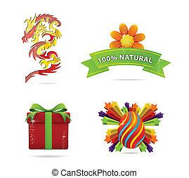 Web and nature elegance symbols set