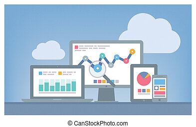 Web and SEO analytics concept - Flat design modern vector...