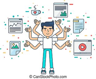 Web UI UX Designer with cup, design, seo, web tools for app, page, template, document, framework. Creative employee with many hands is working on application, programming, website development. Vector