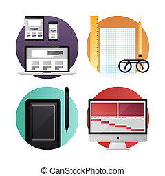 Web and video design flat icons