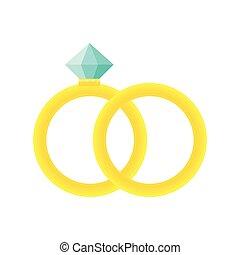 web, anelli, illustrazione, vettore, matrimonio, icon., cartone animato, icona