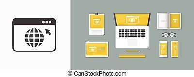 web, appartamento, -, finestra, vettore, browser, minimo, icona