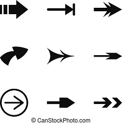 Web arrow icons set, simple style