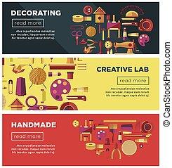 web, arte, vettore, artigianato, officina, fatto mano, creativo, mestiere, bricolage, laboratorio, bandiere, o, capretto