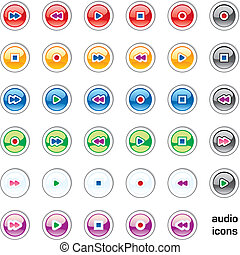 web, audio, iconen