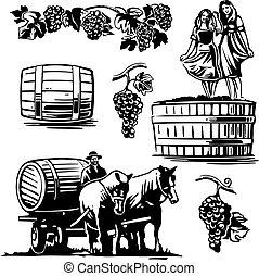 web, auriga, manifesto, ballo, vendemmia, carrello equino, guidato, barile, vettore, nero, illustrazione, uva, etichetta, vino., bianco, donne