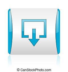 web, ausgang, glänzend, quadrat, blaues, ikone, weißes