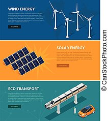 Web backgrounds eco power sources such as wind turbines, solar panels, eco transport. Ecological low and zero emission renewable electricity power energy generation devices.