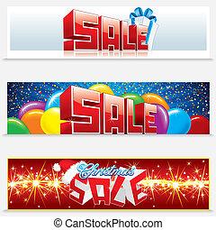 web, banieren, kerstmis, verkoop