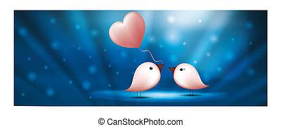 Web banner birds with balloon heart. Valentine s day blue background