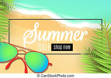 Web banner for the summer sale. Sunglasses on the beach. Leaves of a palm tree. Special offer. Seasonal discounts. Sea waves. Top view. Cartoon flat style. Vector illustration