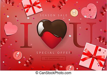 Web banner for Valentines Day Sale. Top view on composition with chocolate heart, gift box, confetti and streamers, vector illustration