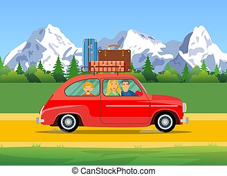 web banner on the theme of Road trip,