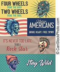 Web banner template with illustrations of a skull with helmet, native american, punk, skull with a cap.