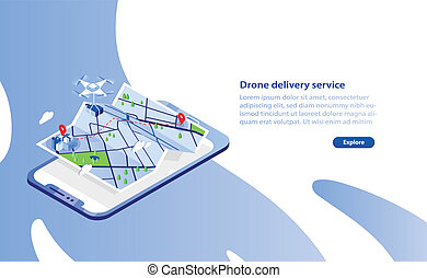 Web banner template with drone carrying box and flying above...