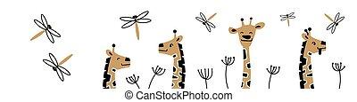 Web banner with cute cartoon giraffe heads