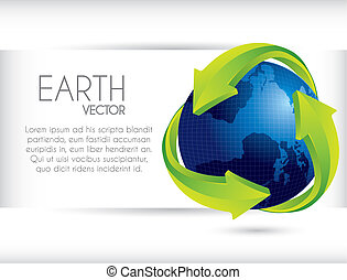 web banner with planet and arrows. vector illustration