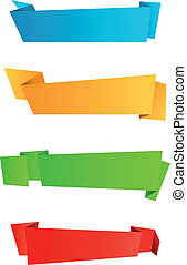 Web banners - Abstract template banners in origami style for...