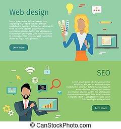 web, banners., seo, internet, concettuale, disegno