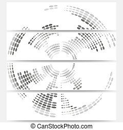 Web banners set of header layout templates, circle halftone vector backgrounds for your website design