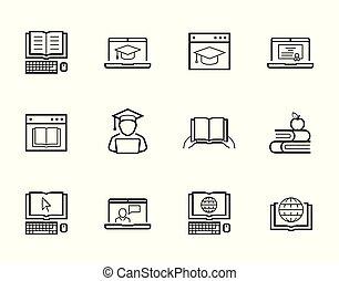 web-based, formation, ensemble, éducation ligne, icône
