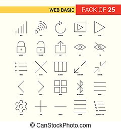 Web Basic Black Line Icon - 25 Business Outline Icon Set
