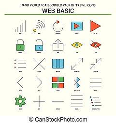Web Basic Flat Line Icon Set - Business Concept Icons Design
