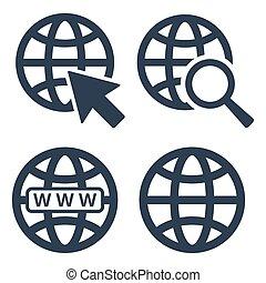 web beelden, set, op wit, achtergrond.