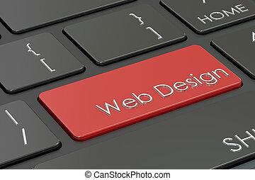 web, begriff, übertragung, design, tastatur, 3d