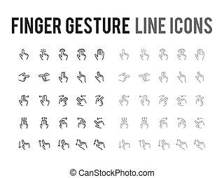 web, beweeglijk,  App,  -,  Vector, vinger, Ontvankelijk, lijn, gebaar, pictogram
