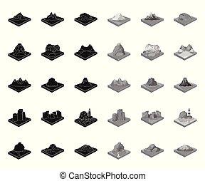 web, black.mono, set, illustration., iconen, symbool,...