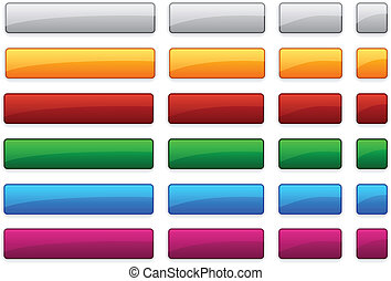 Web blank glossy buttons. - Long and short rectangular...