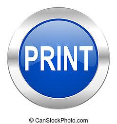 web, blauwe afdruk, chroom, vrijstaand, pictogram, cirkel